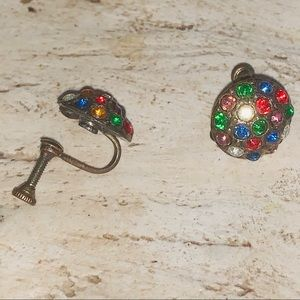 Vintage 1940s Multi-stone Screw Back Earrings